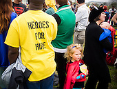 comic book super heroes gather on the Mall, Washington, DC.