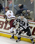 Cam Atkinson (BC - 13), John Cavanagh (Providence - 16) - The Boston College Eagles defeated the Providence College Friars 4-1 on Tuesday, January 12, 2010, at Conte Forum in Chestnut Hill, Massachusetts.