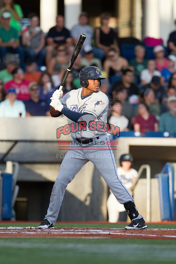 Carlos Belen (24) of the Tri-City Dust Devils at bat during a game against the Hillsboro Hops at Ron Tonkin Field in Hillsboro, Oregon on August 24, 2015.  Tri-City defeated Hillsboro 5-1. (Ronnie Allen/Four Seam Images)