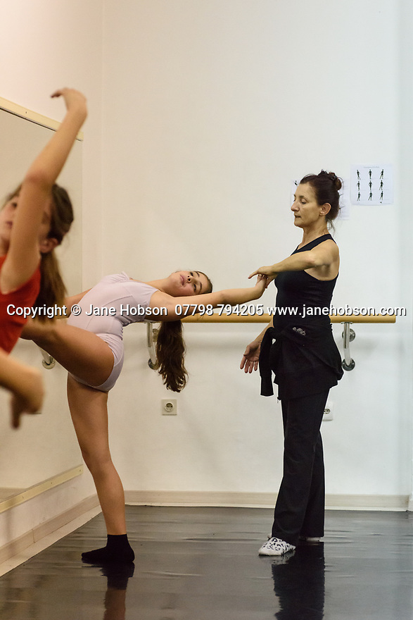 "Zadar, Croatia. 18.10.2018. Choreographer and dancer, Sanja Petrovski, teaches her 2nd year ballet students in the dance department at Glazbena Skola (Music School) ""Blagoje Bersa"", in Zadar, Croatia. Photograph © Jane Hobson."