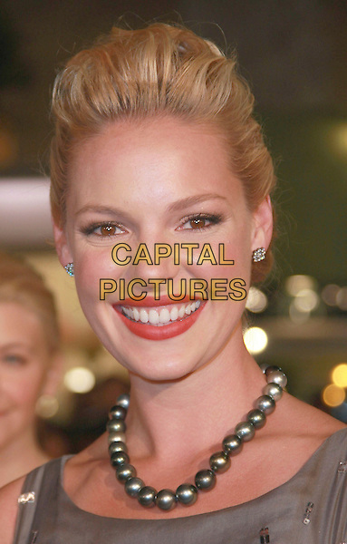 """KATHERINE HEIGL.""""27 Dresses"""" Los Angeles Premiere held at the Mann Village Theatre, Westwood, California, USA,.07 January 2008..portrait headshot grey gray beads necklace.CAP/ADM/CH.©Charles Harris/AdMedia/Capital Pictures."""