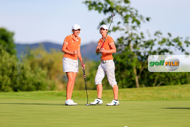 Meghan MacLaren and Maria Dunne on the 15th during the Saturday afternoon fourballs at the 2016 Curtis cup from Dun Laoghaire Golf Club, Ballyman Rd, Enniskerry, Co. Wicklow, Ireland. 11/06/2016.<br /> Picture Fran Caffrey / Golffile.ie<br /> <br /> All photo usage must carry mandatory copyright credit (&copy; Golffile | Fran Caffrey)