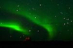 TWIN GOLF BALLS AND THE NORTHERN LIGHTS,  'Aurora borealis' CHURCHILL, MANITOBA, CANADA
