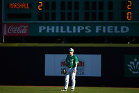 Marshall Thundering Herd right fielder Jaren Lovely (8) on defense against the Charlotte 49ers at Hayes Stadium on March 22, 2019 in Charlotte, North Carolina. The Thundering Herd defeated the 49ers 12-6. (Brian Westerholt/Four Seam Images)