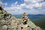 A rock cairn along Edmands Path, near Mount Eisenhower, in the White Mountains, New Hampshire during the summer months.