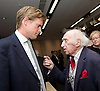 Tristram Hunt MP, Labour's Shadow Secretary of State for Education delivers a speech as part of Labour's summer campaign on The Choice facing the country between Labour and the Conservatives on education at Microsoft, London, Great Britain  18th August 2014.Pictured with Fred Jarvis General Secretary of the National Union of Teachers (NUT) from 1975 to 1989.<br />