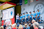 P&S Metalltechnik on stage at the Team Presentation before Stage 1 of the Deutschland Tour 2019, running 167km from Hannover to Halberstadt, Germany. 29th August 2019.<br /> Picture: ASO/Marcel Hilger | Cyclefile<br /> All photos usage must carry mandatory copyright credit (© Cyclefile | ASO/Marcel Hilger)