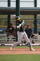 Oakland Athletics left fielder Lazaro Armenteros (13) at bat during a Minor League Spring Training game against the Chicago Cubs at Sloan Park on March 13, 2018 in Mesa, Arizona. (Zachary Lucy/Four Seam Images)