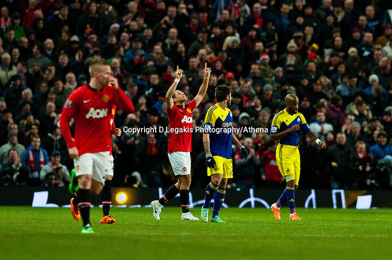 Sunday 05 January 2014<br /> Pictured:Javier Hern?ndez Celebrates his goal<br /> Re: Manchester Utd FC v Swansea City FA cup third round match at Old Trafford, Manchester