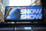 """Theatre Marquee unveiling for """"Slava's Snow Show"""" at the Stephen Sondheim Theatre on November 04, 2019 in New York City."""