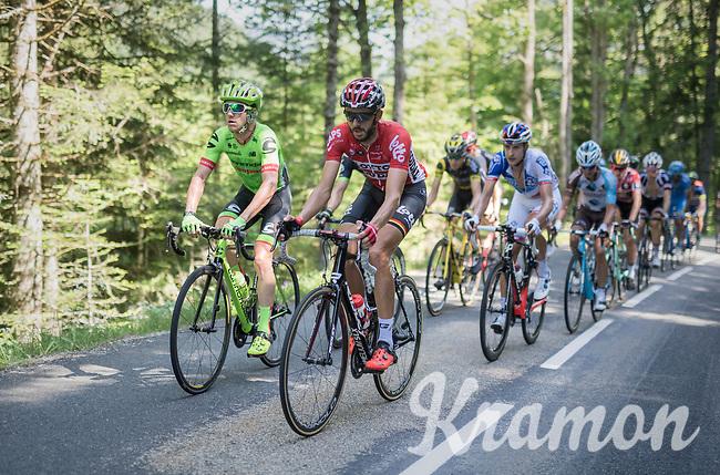 Simon Clarke (AUS/Cannondale-Drapac) &amp;  Jelle Vanendert (BEL/Lotto-Soudal) set the pace in the breakaway group<br /> <br /> stage 7: Aoste &gt; Alpe d'Huez (168km)<br /> 69th Crit&eacute;rium du Dauphin&eacute; 2017