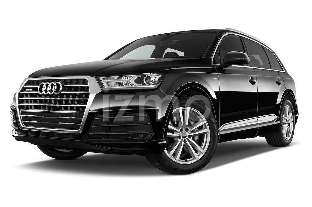 Stock pictures of low aggressive front three quarter view of 2016 Audi Q7 S Line 5 Door Suv Low Aggressive