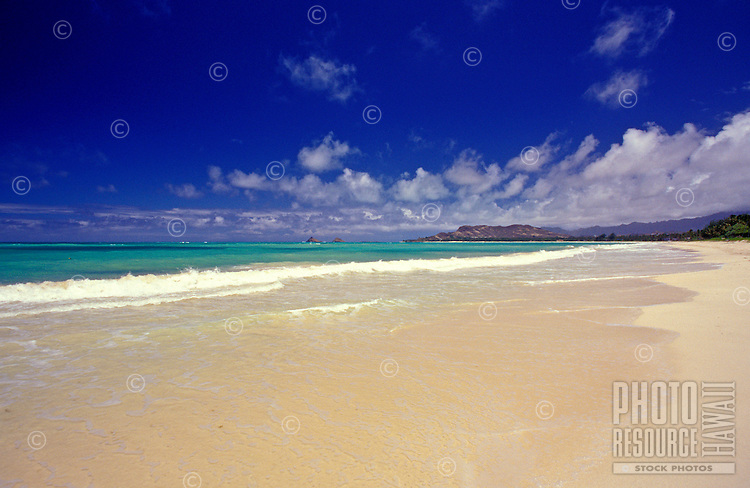 Kailua beach, on Oahu's windward coast, with the Moku Lua islands and Lanikai ridge in the distance