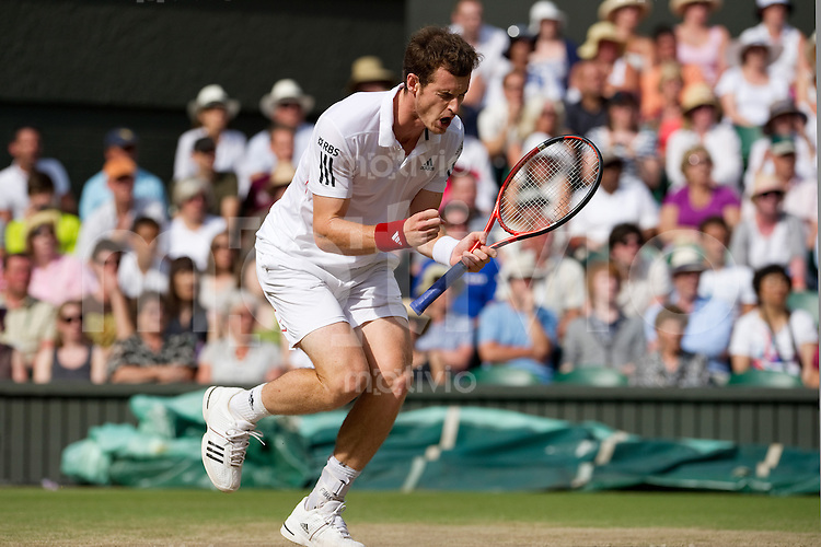 Andy Murray (GBR) celebrates during the match against Jo-Wilfried Tsonga (FRA) on Centre Court. The Wimbledon Championships 2010 The All England Lawn Tennis & Croquet Club  Day 9 Wednesday 30/06/2010