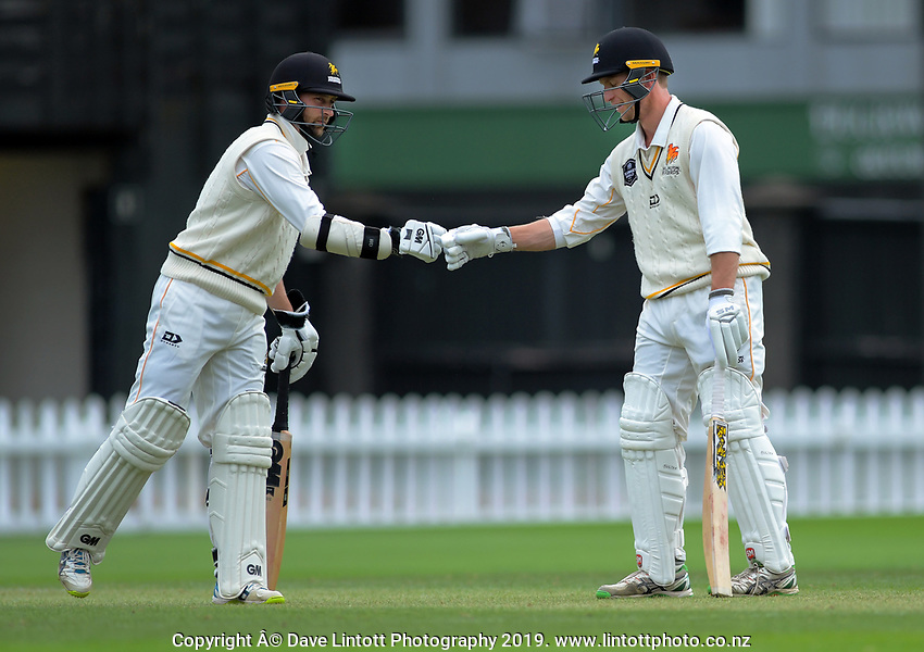 Wellington's Devon Conway and Fraser Colson during day two of the Plunket Shield cricket match between the Wellington Firebirds and Auckland at Basin Reserve in Wellington, New Zealand on Saturday, 9 November 2019. Photo: Dave Lintott / lintottphoto.co.nz