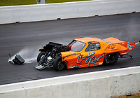 Jun 9, 2019; Topeka, KS, USA; NHRA pro mod driver Jeremy Ray crashes into the wall during the Heartland Nationals at Heartland Motorsports Park. Ray would be transported to a local hospital for evaluation. Mandatory Credit: Mark J. Rebilas-USA TODAY Sports