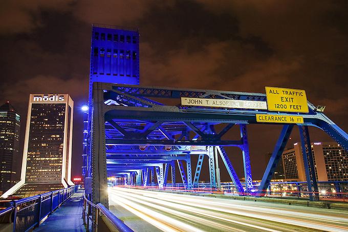 Iconic Main Street Bridge at Night.