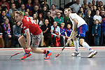 Mannheim, Germany, January 24: During the 1. Bundesliga Herren Hallensaison 2014/15 quarter-final hockey match between Mannheimer HC (white) and Club an der Alster (red) on January 24, 2015 at Irma-Roechling-Halle in Mannheim, Germany. Final score 2-3 (1-2). (Photo by Dirk Markgraf / www.265-images.com) *** Local caption *** Fabian Pehlke #23 of Mannheimer HC, Christopher Ruehr #19 of Club an der Alster