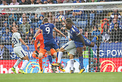 9th September 2017, King Power Stadium, Leicester, England; EPL Premier League Football, Leicester City versus Chelsea; Jamie Vardy of Leicester City and Wes Morgan of Leicester City try to get their heads on the ball