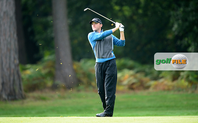 Michael Hoey of Northern Ireland in action during Round 4 of the 2015 British Masters at the Marquess Course, Woburn, in Bedfordshire, England on 11/10/15.<br /> Picture: Richard Martin-Roberts | Golffile