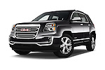 Stock pictures of low aggressive front three quarter view of 2017 GMC Terrain SLT 5 Door SUV Low Aggressive