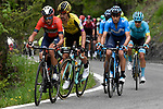 The group of main contenders including Vincenzo Nibali (ITA) Bahrain-Merida, Primoz Roglic (SLO) Jumbo-Visma and Mikel Landa (ESP) Movistar Team in action during Stage 14 of the 2019 Giro d'Italia, running 131km from Saint-Vincent to Courmayeur (Skyway Monte Bianco), Italy. 25th May 2019<br /> Picture: Fabio Ferrari/LaPresse | Cyclefile<br /> <br /> All photos usage must carry mandatory copyright credit (© Cyclefile | Fabio Ferrari/LaPresse)