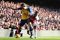 Jannik Vestergaard of Southampton and/ Alexandre Lacazette of Arsenal during Arsenal vs Southampton, Premier League Football at the Emirates Stadium on 24th February 2019
