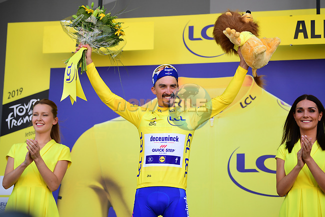 Julian Alaphilippe (FRA) Deceuninck-Quick Step retains the Yellow Jersey at the end of Stage 10 of the 2019 Tour de France running 217.5km from Saint-Flour to Albi, France. 15th July 2019.<br /> Picture: ASO/Pauline Ballet | Cyclefile<br /> All photos usage must carry mandatory copyright credit (© Cyclefile | ASO/Pauline Ballet)