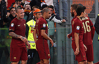 Calcio, Serie A: Lazio vs Roma. Roma, stadio Olimpico, <br /> Roma&rsquo;s Radja Nainggolan celebrates with teammates after scoring during the Italian Serie A football match between Lazio and Rome at Rome's Olympic stadium, 4 December 2016. Roma won 2-0.<br /> UPDATE IMAGES PRESS/Riccardo De Luca