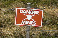 Danger mine sign, 30,000 Argentian mines left in 135 mined areas.