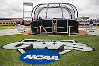The Virginia Cavaliers take batting practice before Game 1 of the NCAA College World Series on June 13, 2015 at TD Ameritrade Park in Omaha, Nebraska. Virginia defeated Arkansas 5-3. (Andrew Woolley/Four Seam Images)