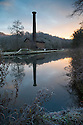 28/12/16<br /> <br /> After a freezing night, frost surrounds Leawood Pump House at dawn on the Cromford Canal in the Derbyshire Peak District. <br /> <br /> The pump with its 95 ft tall chimney was built in 1849 to pump water from the river Derwent into the canal. <br /> <br /> The steam engine still works and is open to visitors  regularly between Easter and October.<br /> <br /> <br /> <br /> <br /> All Rights Reserved F Stop Press Ltd. (0)1773 550665   www.fstoppress.com