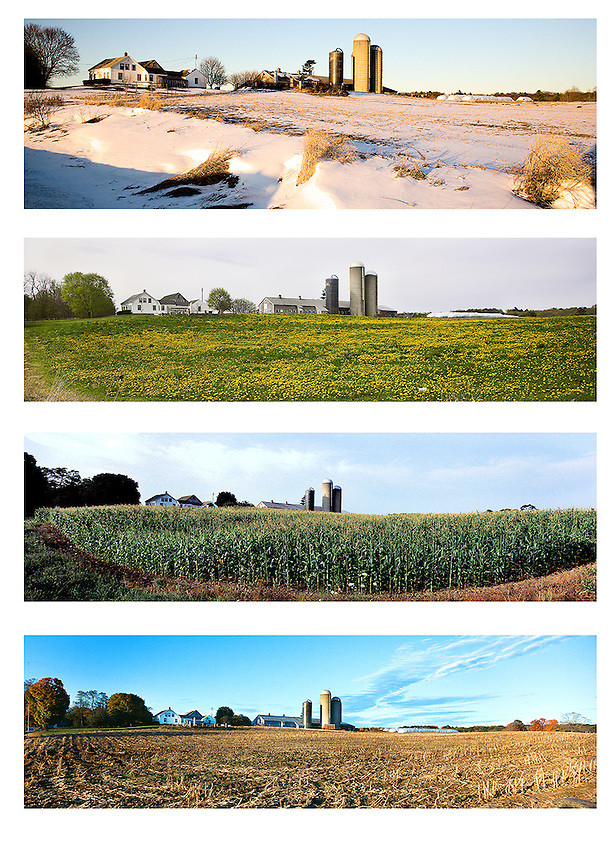 A four season view of Rustlewood, the Johnson family dairy farm in Kittery, Maine, that will soon be protected with a conservation easement. Photograph by Peter E. Randall.