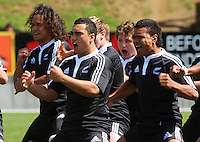 New Zealand perform the haka before the match during the International rugby match between New Zealand Secondary Schools and Suncorp Australia Secondary Schools at Yarrows Stadium, New Plymouth, New Zealand on Friday, 10 October 2008. Photo: Dave Lintott / lintottphoto.co.nz