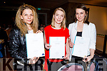 Velichka Kovacheba, Monika Gniewek and Jonna Saczawa Receiving their Certificates at the Presentation of Certificate Ceremony by the Kerry College, Monavalley Campus in the Rose Hotel on Thursday night.