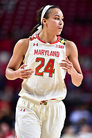 College Park, MD - NOV 13, 2017: Maryland Terrapins forward Stephanie Jones (24) in action during game between No. 4 ranked South Carolina and the No. 15 Maryland Terrapins at the XFINITY Center in College Park, MD. The Gamecocks defeated Maryland 94-86.  (Photo by Phil Peters/Media Images International)