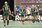 Berlin, Germany, February 01: Players of HTC Uhlenhorst Muehlheim celebrate after scoring during the 1. Bundesliga Damen Hallensaison 2014/15 final hockey match between Duesseldorfer HC (white) and HTC Uhlenhorst Muehlheim (green) on February 1, 2015 at the Final Four tournament at Max-Schmeling-Halle in Berlin, Germany. Final score 4-1 (1-0). (Photo by Dirk Markgraf / www.265-images.com) *** Local caption ***