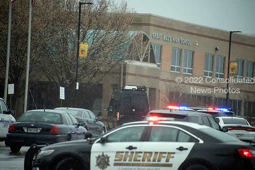 Police activity at the front of Great Mills High School in Great Mills, Maryland where two students were wounded and one student was killed on Tuesday, March 20, 2018. <br /> Credit: Ron Sachs / CNP<br /> (RESTRICTION: NO New York or New Jersey Newspapers or newspapers within a 75 mile radius of New York City)