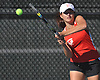 Gina LaRusso of Half Hollow Hills East returns a shot during the Suffolk County girls tennis Division I doubles consolation final against Commack at Half Hollow Hills West High School on Tuesday, Oct. 11, 2016.