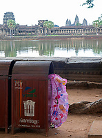 Rubbish at Angkor Wat the enormous amount of plastic bottles will be collected at the end of the day by the local children and the elderly. Cambodia