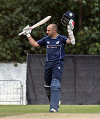 Cricket Scotland - Scotland V Namibia One Day International match at Grange CC today (Thur) - this match is the first of two ODI matches this week against Zimbabwe - Scotland Captain Kyle Coetzer signals his century - picture by Donald MacLeod - 15.06.2017 - 07702 319 738 - clanmacleod@btinternet.com - www.donald-macleod.com