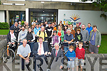 LAUNCH: The Danish Ambassador to Ireland Niels Christen Puliz with the Mayor of Kerry Terry O'Brien launched the Kerry Bicycle Week, who many cylist in the background at the launch at Kerry County Library, Tralee on Saturdauy.
