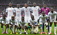 July 26, 2012..Members of Senegal Football team pose for a group photograph before Great Britain vs Senegal Football match during 2012 Olympic Games at Old Trafford in Manchester, England. Senegal held Great Britain to a 1-1 draw...(Credit Image: © Mo Khursheed/TFV Media)