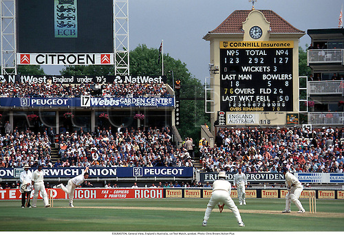 EDGBASTON, General View, England v Australia, 1st Test Match, 970606. Photo: Chris Brown/Action Plus...1997.cricket.venue.scoreboard.ground.grounds.venues