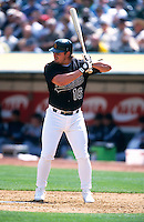 OAKLAND, CA - Jason Giambi of the Oakland Athletics bats during a game against the Detroit Tigers at the Oakland Coliseum in Oakland, California on April 5, 2000. Photo by Brad Mangin