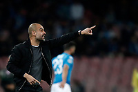 Football Soccer: UEFA Champions League Napoli vs Mabchester City San Paolo stadium Naples, Italy, November 1, 2017. <br /> Manchester City's Josep Guardiola speaks to his players during the Uefa Champions League football soccer match between Napoli and Manchester City at San Paolo stadium, November 1, 2017.<br /> UPDATE IMAGES PRESS/Isabella Bonotto
