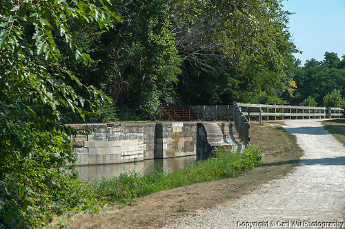 Aux Sable Aquaduct Lock #8 on the Illinois & Michigan Canal and man bridge.