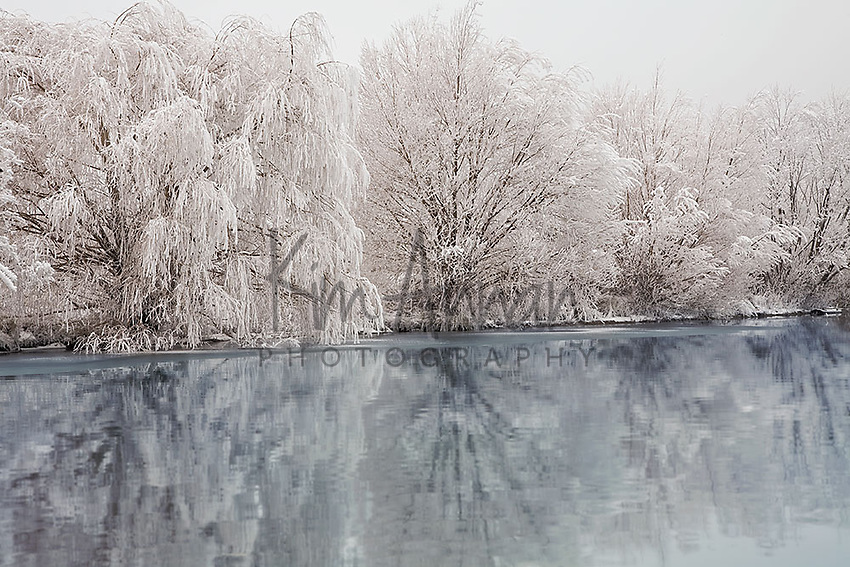 winter lake, frozen lake, hoar frost, central otago, new zealand