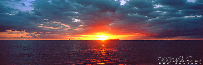 Mamanuca Islands Sunset, Fiji Islands<br /> <br /> Image taken on large format panoramic 6cm x 17cm transparency. Available for licencing and printing. email us at contact@widescenes.com for pricing.