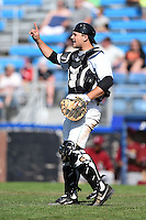 Jamestown Jammers catcher Taylor Gushue (13) during a game against the Mahoning Valley Scrappers on June 15, 2014 at Russell Diethrick Park in Jamestown, New York.  Jamestown defeated Mahoning Valley 9-4.  (Mike Janes/Four Seam Images)